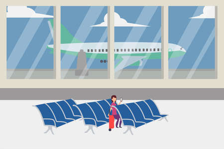 Airport vector concept: woman using her smartphone while waiting for an airplane