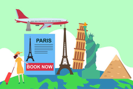 World travel vector concept: Paris promotion flyer over the globe filled with world landmark icons 向量圖像