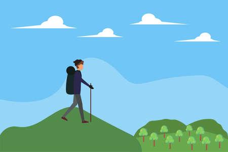Trekking vector concept: man trekking through the hills with his cane