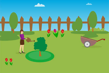 Gardening vector concept: woman watering a small tree on her lawn
