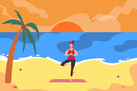 Yoga vector concept: woman doing one leg yoga pose on the beach at morning/evening time