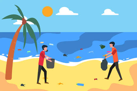 Environmental volunteer vector concept: men collecting garbages on the beach