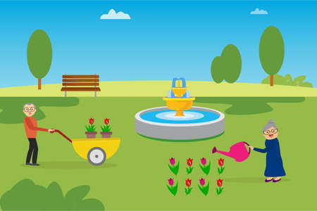 Gardening vector concept: old woman watering the roses happily while her husband pushing a wheelbarrow filled with other roses