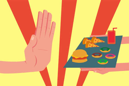 Junk food refusal vector concept: closeup of unidentified hand refusing a tray full of junk foods Ilustrace
