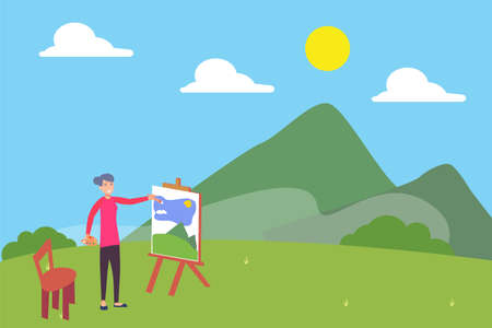 Landscape painting vector concept: old woman painting the landscape of hills and mountain happily