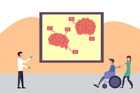 Neuroanatomy vector concept: woman accompanying her ill husband on the wheelchair to the neurologist