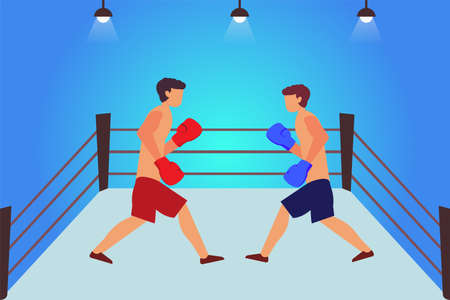 Boxing match vector concept: two male boxers holding a boxing match in the ring