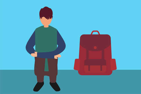 Runaway child vector concept: teenager sitting and hugging his knees coldly besides a backpack