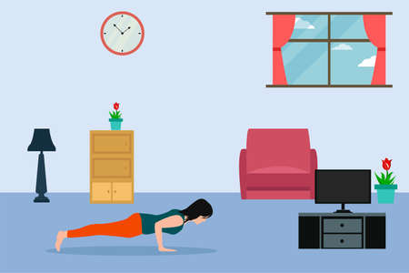 Home exercise vector concept: woman doing pushups while watching her television in the living room