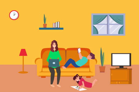 Work from Home vector concept: woman working on her laptop while babysitting her playful children