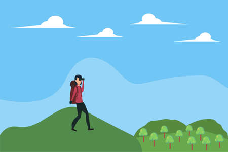 Hiking vector concept: woman peeking distantly with her binoculars while hiking at the hills