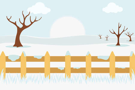 Winter vector concept, with white freezing and snowy field 向量圖像