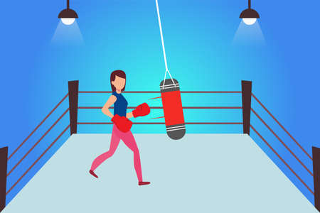 Female amateur boxing vector concept: woman boxing the punching bag on the ring