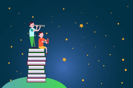 Education vector concept: boys standing on stack of books while peeking at the stars