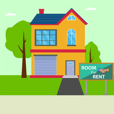 Rent room vector concept with apartment and a signboard written