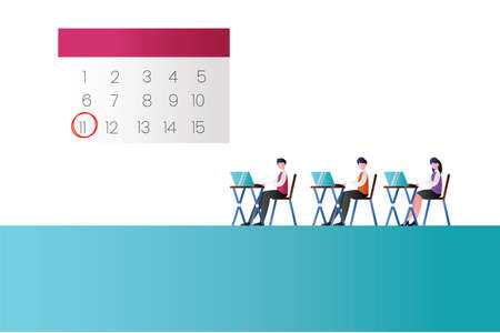 Deadline vector concept with group of figures wearing suits while working on their own laptops near the big calendar icon in white & cyan background
