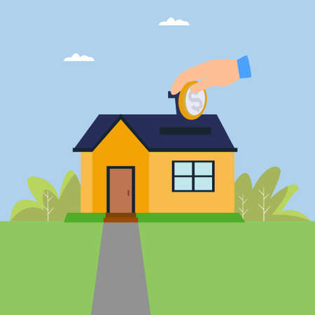 Property savings vector concept with big hand inserting a coin to the roof slot, in the blue cloudy skies background