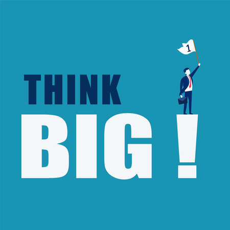 Think Big vector concept: businessman carrying suitcase and waving the number one flag while standing on huge