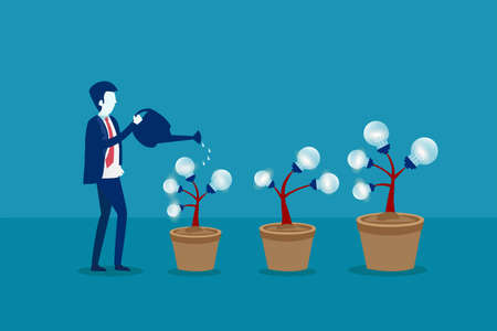 Business idea vector concept: businessman watering the lightbulb plants