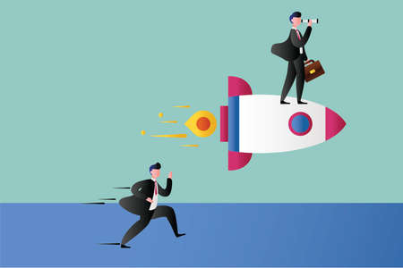 Business goal vector concept with businessman riding a rocket and peeking distantly with his telescope while his partner running and chasing him in blue & green background