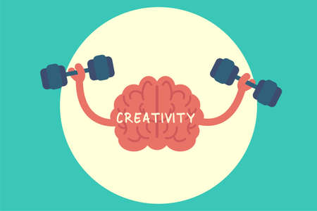 Creativity vector concept: brain working out by lifting the dumbbells