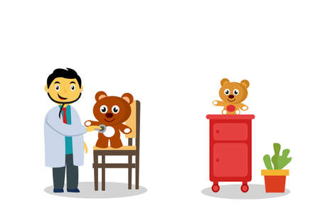 Child's dream vector concept: boy pretending to be a doctor happily by checking his teddy bear's heartbeat with stethoscope