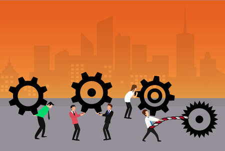 Engineering vector concept: businessmen lifting and carrying their big cogwheels on the streets