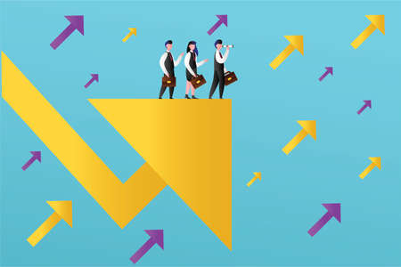 Business direction vector concept with group of figures wearing suits and holding their briefcases while standing & watching the big business chart arrows in cyan background