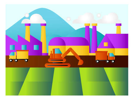 Industry vector concept: frame of factory near the mountains Ilustrace