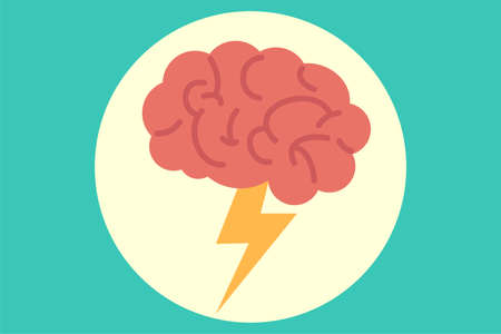 Creativity vector concept: brain with lightning icon inside a circle over mint green background 向量圖像