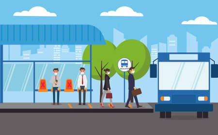 New Normal vector concept: businesspeople waiting for the bus coming