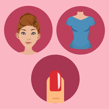 Beauty woman icon set vector concept with woman face, body, and nail; in the pink background with red circles