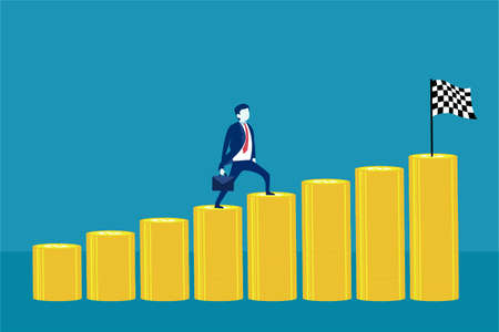 Business profit vector concept: businessman walking and climbing the increasing stack of coins towards the checkered flag