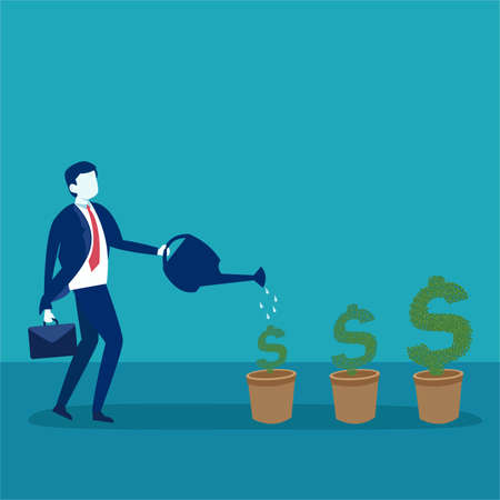 Investment vector concept: businessman carrying his suitcase while nurturing and watering his dollar trees Vettoriali