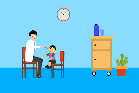 Kids dentistry vector concept: doctor checking up the boy's mouth with flashlight