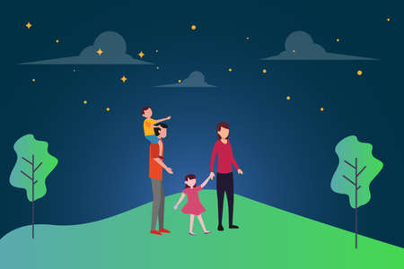 Family dream vector concept: group of family sanding in the middle of green hills while staring at the starry skies together Ilustração
