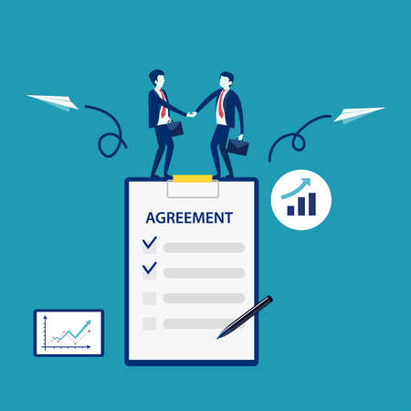 Business agreement vector concept: businessmen shaking hands while standing on big business agreement document