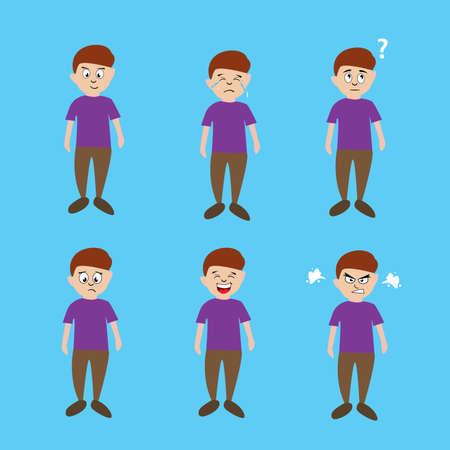 Boy expression icon set vector concept, over the aquamarine background Ilustração