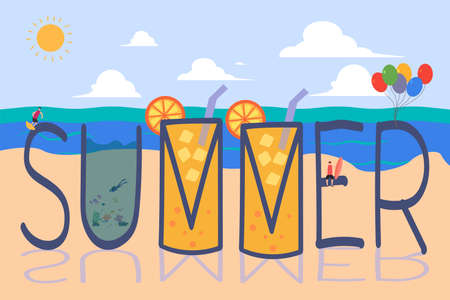 """Orange juice of summer vector concept: big """"Summer"""" text with group of small male figures surfing and diving in it"""