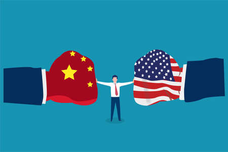 Trade war vector concept: businessman holding back two big boxing gloves with China and USA flags Illustration