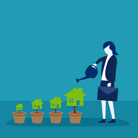 Property investment vector concept: businesswoman carrying her suitcase while watering her house shaped trees Vettoriali