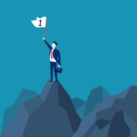 Businessman championship vector concept: businessman carrying suitcase and waving the number one flag while standing on rock mountain  イラスト・ベクター素材