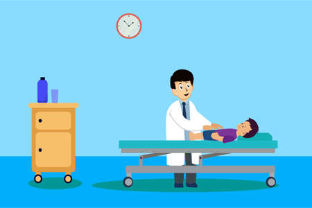 Pediatrician vector concept: pediatric checking up his boy patient's body Stock Illustratie