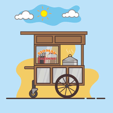 Siomay Bandung cart vector concept, over the aquamarine skies background