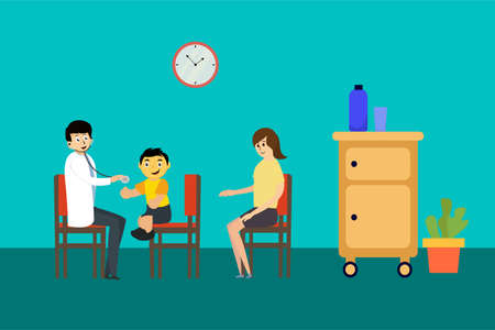 Pediatrician vector concept: mother and child doing routine checkup to the pediatrician
