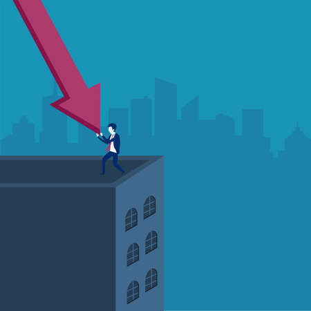 Recession vector concept: Businessman pushing the declining financial chart red arrow on the edge of a building peak to prevent it falls deeper