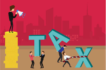 Tax vector concept: businessman shouting at his male employees through the megaphone on stack of coins while they lifting the big Tax letters icons over the red cityscape background