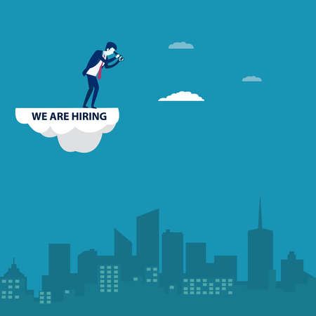 We Are Hiring vector concept: businessman with magic clouds written