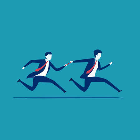 Business teamwork vector concept: Businessman passing the baton during a relay race