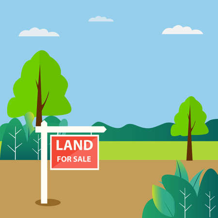 Land for Sale vector concept with its signboard on the empty yard, over blue cloudy skies background